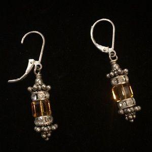 Jewelry - Vintage amber and rhinestone silver earrings